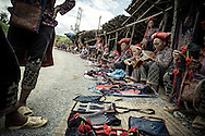 Red Dao selling handicrafts outside of Topas Ecolodge, Sapa District, Lao Cai Province, Vietnam, Southeast Asia