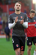 Charlton Athletic defender Patrick Bauer (5) applauds the fans in warm up  during the EFL Sky Bet League 1 match between Barnsley and Charlton Athletic at Oakwell, Barnsley, England on 29 December 2018.