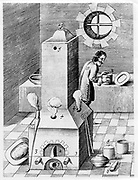 Furnace for processes where protracted heat required, such as cementation. This furnace is gravity-fed and self-stoking. From 1683 English edition of 'Beschreibung allerfurnemisten mineralischen Ertzt', Lazarus Ercker, (Prague, 1574). Copperplate engraving.