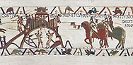 Bayeux Tapestry Scene 19 - After the Norman attacjk of Dinan the Duke of Brittany surrenders and hands over the city keys to Duke William, BYX19