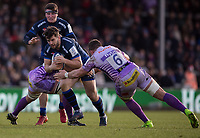 Sale Sharks' Cameron Neild in action during todays match<br /> <br /> Photographer Bob Bradford/CameraSport<br /> <br /> European Rugby Heineken Champions Cup Group B - Exeter Chiefs v Sale Sharks - Sunday 15th December 2019 - Sandy Park - Exeter<br /> <br /> World Copyright © 2019 CameraSport. All rights reserved. 43 Linden Ave. Countesthorpe. Leicester. England. LE8 5PG - Tel: +44 (0) 116 277 4147 - admin@camerasport.com - www.camerasport.com