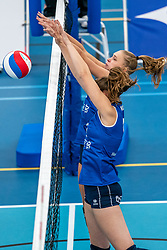 Kirsten Wessels #3 of Sliedrecht Sport, Carlijn Ghijssen-Jans #10 of Sliedrecht Sport in action during the supercup semifinal between VC Sneek and Sliedrecht Sport on October, 03 2020 in Van der Knaaphal, Ede