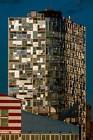 23 story residential tower in Chelsea by French architect Jean Nouvel. Facade is made up of 1647 different window panes, lower west side of Manhattan, New York City, New York USA.