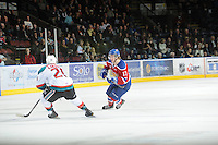 KELOWNA, CANADA, FEBRUARY 15: Jordan Peddle #17 of the Edmonton OIl Kings skates on the ice at the Kelowna Rockets on February 15, 2012 at Prospera Place in Kelowna, British Columbia, Canada (Photo by Marissa Baecker/Shoot the Breeze) *** Local Caption ***