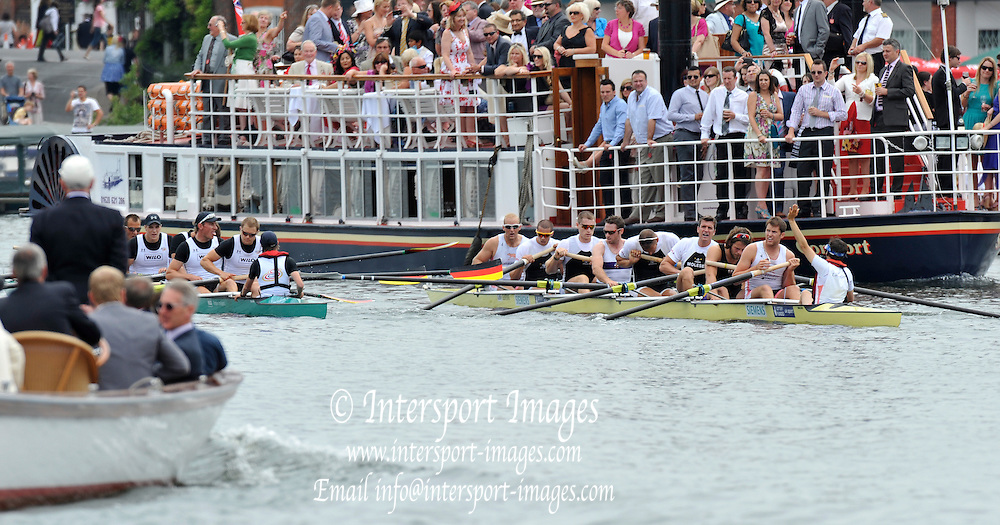 Henley, Great Britain.   Finals day. The Grand  Challenge Cup, Berks, Hansa Dortmund vs Molesey BC and Leander Club [Protest}  final at Henley Royal Regatta. River Thames Henley Reach.  Royal Regatta. River Thames Henley Reach.  Sunday  03/07/2011  [Mandatory Credit  Patrick White/ Intersport Images] 2011 Henley Royal Regatta. HOT. Great Britain . HRR