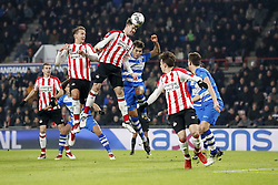 (L-R) Daniel Schwaab of PSV, Phillipe Sandler of PEC Zwolle, Luuk de Jong of PSV, Marco van Ginkel of PSV, Nicolas Freire of PEC Zwolle, Nicolas Isimat-Mirin of PSV during the Dutch Eredivisie match between PSV Eindhoven and PEC Zwolle at the Phillips stadium on February 03, 2018 in Eindhoven, The Netherlands