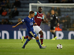 Marc Albrighton of Leicester City (L) and Victor Moses of West Ham United  - Mandatory byline: Jack Phillips/JMP - 07966386802 - 22/09/2015 - SPORT - FOOTBALL - Leicester - King Power Stadium - Leicester City v West Ham United - Capital One Cup Round 3