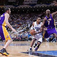 BASKET BALL - PLAYOFFS NBA 2008/2009 - LOS ANGELES LAKERS V ORLANDO MAGIC - GAME 3 -  ORLANDO (USA) - 09/06/2009 - .JAMEER NELSON (MAGIC), LAMAR ODOM (LAKERS), JORDAN FARMAR (LAKERS)