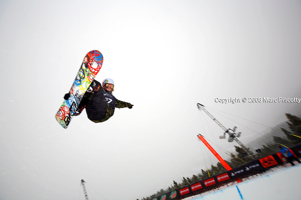 12/20/08 10:51:50 AM -- Breckenridge, CO, U.S.A. -- Snowboarder Kevin Pearce of Norwich, Vt. blasts out of the superpipe at the inaugural Winter Dew Tour in Breckenridge, Co. on December 20, 2008. The four-day competition is the first of three stops on the tour that features freeskiing and snowboarding..(Photo by Marc Piscotty / © 2008)