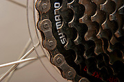 Close up of bicycle parts the back cog wheel