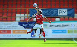 Stephen Hendrie of Morecambe and Conor Thomas of Cheltenham Town compete for the highball- Mandatory by-line: Nizaam Jones/JMP - 12/09/2020 - FOOTBALL - Jonny-Rocks Stadium - Cheltenham, England - Cheltenham Town v Morecambe - Sky Bet League Two