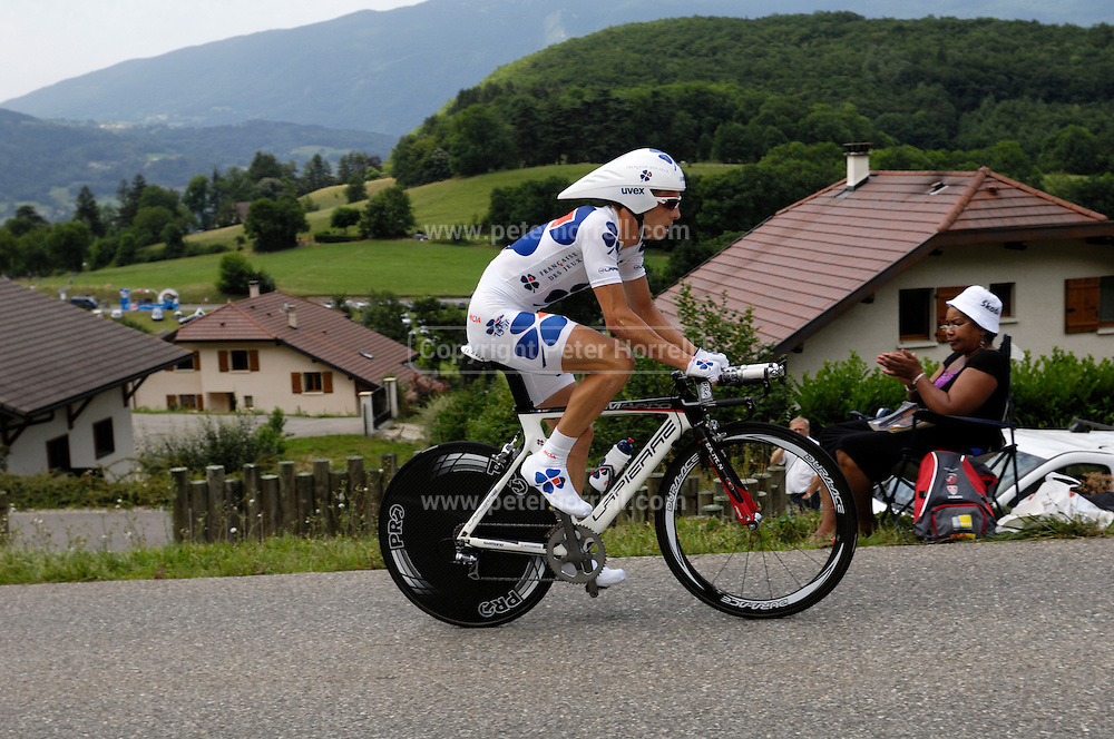 France, Talloire, 22 July 2009: Anthony Geslin (Fra) Française des Jeux on the Côte de Bluffy during Stage 18 - a 40.5 km Annecy to Annecy individual time trial. Photo by Peter Horrell / http://peterhorrell.com .