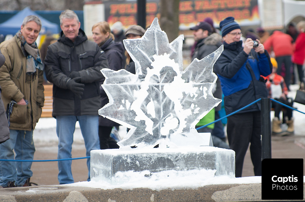 Crowds filled Confederation Park on an unseasonably warm day for Winterlude to check out dozens of ice sculptures. January 31, 2016. Brendan Montgomery/Captis Photos