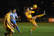 Newport's Tom Naylor in action. . Skybet football league two match, Newport county v Hartlepool Utd at Rodney Parade in Newport , South Wales on Friday 15th November 2013. pic by Andrew Orchard, Andrew Orchard sports photography,