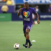 ORLANDO, FL - JUNE 18:  Julio Baptista #19 of Orlando City SC is seen wearing a Orlando United t-shirt during warmups of an MLS soccer match between the San Jose Earthquakes and the Orlando City SC at Camping World Stadium on June 18, 2016 in Orlando, Florida. (Photo by Alex Menendez/Getty Images) *** Local Caption *** Julio Baptista