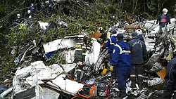 Nov. 29, 2016 Antioquia, Brazil - Rescuers inspecting the site of the crashed plane carrying the Brazilian soccer team Chapecoense, in La Ceja municipality, near Medellin, in the department of Antioquia, Colombia. A plane carrying players from Brazilian football team Chapecoense has crashed in Colombia, killing 76 people, authorities said. (Credit Image: © Telemedellin/Xinhua via ZUMA Wire)
