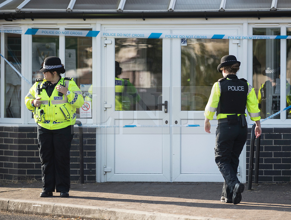© Licensed to London News Pictures. 04/07/2018. Amesbury, UK. Police guard the entrance to Amesbury Baptist Church where it is thought Dawn Sturgess, 44, and her partner Charlie Rowley, 45, may have visited before they were taken ill on Saturday 30th June 2018. Police have confirmed that the couple have been in contact with Novichok nerve agent. Former Russian spy Sergei Skripal and his daughter Yulia were poisoned with Novichok nerve agent in nearby Salisbury in March 2018. Photo credit: Peter Macdiarmid/LNP
