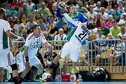 Miha Zarabec of Slovenia during handball game between Man National Teams of Slovenia and Hungary in 2019 Man's World Championship Qualification, on June 9, 2018 in Arena Bonifika, Ljubljana, Slovenia. Photo by Urban Urbanc / Sportida