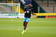 Jamille Matt (14) of Forest Green Rovers warming up ahead of the Pre-Season Friendly match between Yeovil Town and Forest Green Rovers at Huish Park, Yeovil, England on 31 July 2021.