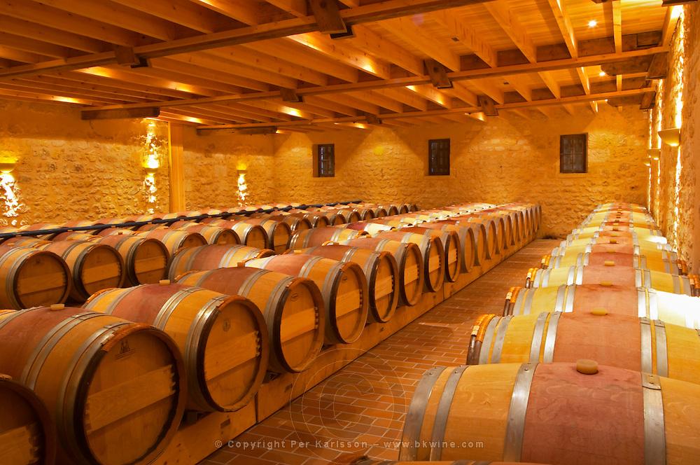 in the wine cellar: Barriques barrels - Chateau Grand Mayne, Saint Emilion, Bordeaux