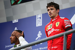 SPA-FRANCORCHAMPS, Sept. 2, 2019  Charles Leclerc (R) of Ferrari poses during the awarding ceremony after the Formula 1 Belgian Grand Prix at Spa-Francorchamps Circuit, Belgium, Sept. 1, 2019. (Credit Image: © Zheng Huansong/Xinhua via ZUMA Wire)