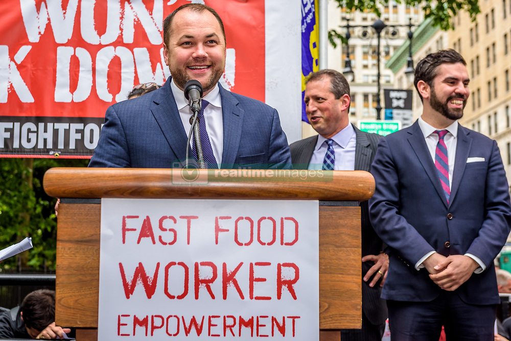 May 24, 2017 - New York, NY, United States - Council Member Corey Johnson - Ahead of an expected New York City Council vote, fast-food workers, cashiers, cooks, delivery people and their supporters held a rally outside New York City Hall on May 24, 2017; welcoming the news that the NY City Council will vote on a package of scheduling bills for a fair work week for fast-food and retail workers as well as a bill that will enable fast-food workers to have a united voice on the job and in their communities. (Credit Image: © Erik Mcgregor/Pacific Press via ZUMA Wire)