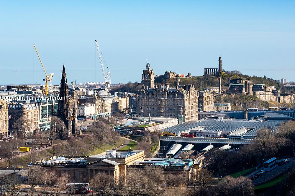 Skyline of Edinburgh towards Calton Hill , Scotland , United Kingdom