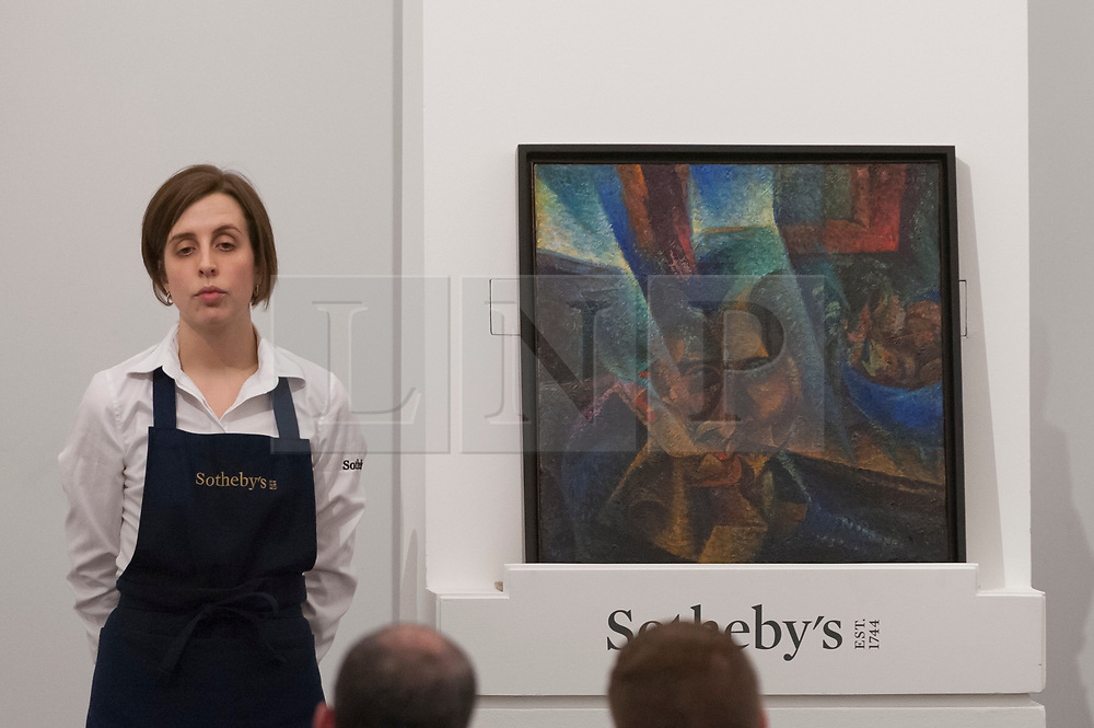 © Licensed to London News Pictures. 28/02/2018. LONDON, UK. ''Testa + Luce + Ambiente'' by Umberto Boccioni, (Est. £5.5-7.5m) sold for a hammer price of £7.9m at the evening sale of Modern, Surrealist and Contemporary art at Sotheby's in New Bond Street.  Photo credit: Stephen Chung/LNP