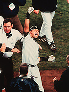 Derek Jeter emotions were high as he acknowledges the Yankee Stadium faithful after hitting a dramatic,  11th inning walk off game winning home run off of Arizona reliver Byung-Hyun Kim.