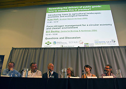 Pictured: Bill Beasrley, Centre for Ecology and Hydrology, Jon Westlake, Welsh Governmnet, DEavid Balock, Institure for European Environmental Policy, Kate Hool (Scottish natural Heritage,Ann Brand, RSPB and Darren Moseley, Forest Reserach, made up the panel for the end of the morning Q&A  session<br /> <br /> Cabinet Secretary Roseanna Cunningham joined a number of speakers addressing the The Land Use and Environment Conference, entitled Rewarding the Delivery of Public Goods - How to Achieve This in Practice in Edinburgh Toiday.  The conference was coordinated by Scotland's Rural College. <br /> <br /> <br /> Ger Harley | EEm 28 November 2018