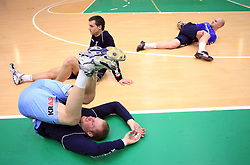 Miha Zvizej, Klemen Cehte and Goran Kozomara practice of Slovenian handball men national team before going to Israel, on October 27, 2008 in Lasko, Slovenia. (Photo by Vid Ponikvar / Sportal Images)