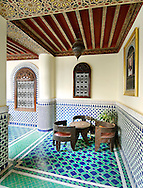 Interior of the Riad El Yacout in Fez, Morocco.