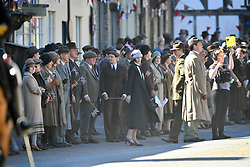 Michelle Dockery is joined by Stephen Campbell Moore and other cast members on the Downton Abbey film set in Lacock, Wiltshire.