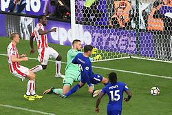 23rd September 2017 - Premier League - Stoke City v Chelsea - Alvaro Morata of Chelsea scores their 4th goal to complete his hat-trick - Photo: Simon Stacpoole / Offside.