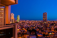 View from the Dan Panorama Hotel at twilight across the city of Tel Aviv, Israel.