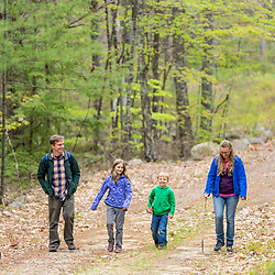 A family of four walks on a woods road in the Stonehouse Forest in Barrington, New Hampshire.