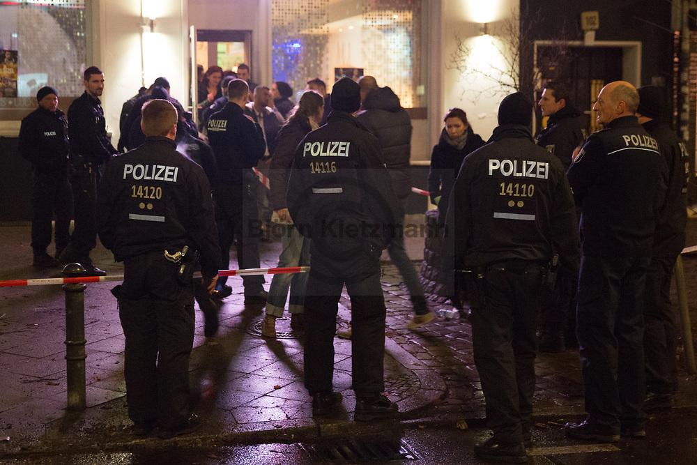 Berlin, Germany -  01.01.2015<br /> <br /> Shooting on Reinickendorfer Strasse in Berlin-Wedding. Two people were shot in the early morning hours of New Year's Night, the perpetrator is escaped.<br /> <br /> Schießerei in der Reinickendorfer Strasse in Berlin-Wedding. Zwei Personen wurden in den frühen Morgenstunden der Neujahrsnacht angeschossen der Täter ist flüchtig.<br /> <br /> Photo: Bjoern Kietzmann