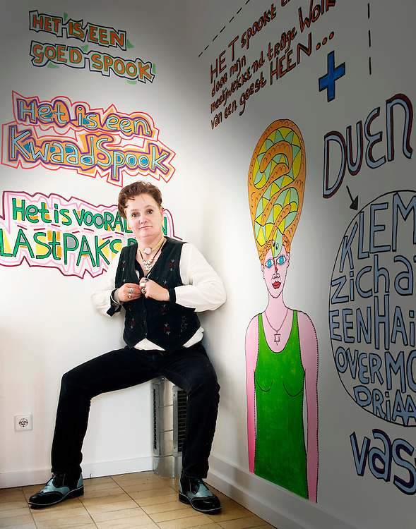 Nederland. Rotterdam, 04-03-2014. Photo: Patrick Post.  Portret van schrijfster en kunstenaar Pam Emmerik.