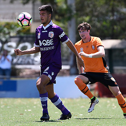 BRISBANE, AUSTRALIA - JANUARY 8: Dejan Spaseski of the Glory controls the ball in front of Shannon Brady of the Roar during the round 8 Foxtel National Youth League match between the Brisbane Roar and Perth Glory at AJ Kelly Field on January 8, 2017 in Brisbane, Australia. (Photo by Patrick Kearney/Brisbane Roar)