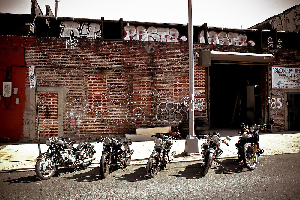 Five motorbikes parked on a street of Williamsburg, Brooklyn, New York, 2008.