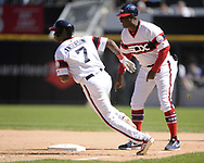 CHICAGO - JUNE 02:  Tim Anderson #7 of the Chicago White Sox runs toward second base while hitting a double against the Cleveland Indians on June 2, 2019 at Guaranteed Rate Field in Chicago, Illinois.  (Photo by Ron Vesely)  Subject:  Tim Anderson