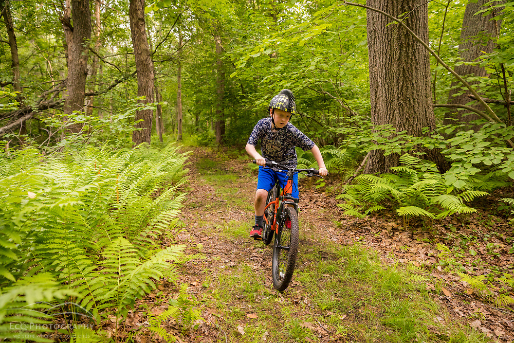 A boy rides his mountain bike in the woods at the Donibristle Reservation in Topsfield, Massachusetts.