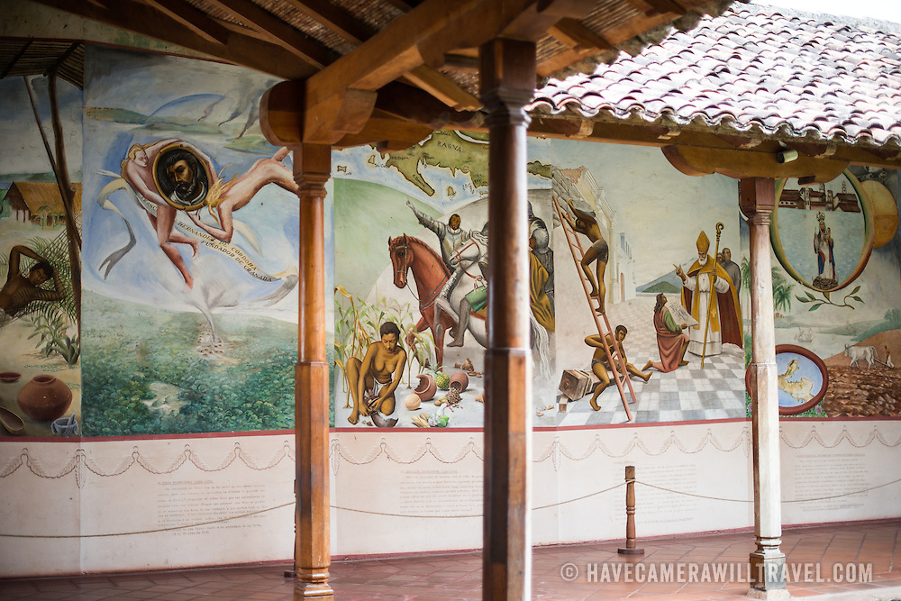 A large wall mural depicts the history of Granada, on display at the Centro Cultural Convento San Francisco. The The Centro Cultural Convento San Francisco, located just a couple of blocks from Parque Central in Granada, is dedicated to the history of the region.