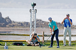 June 11, 2019 - Pebble Beach, CA, U.S. - PEBBLE BEACH, CA - JUNE 11: PGA golfer Rory McIlroy tees off on the 18th hole during a practice round for the 2019 US Open on June 11, 2019, at Pebble Beach Golf Links in Pebble Beach, CA. (Photo by Brian Spurlock/Icon Sportswire) (Credit Image: © Brian Spurlock/Icon SMI via ZUMA Press)