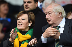 Norwich City Joint Majority Share holders Delia Smith and Michael Wynn Jones during the Skybet Championship match at Portman Road, Ipswich.