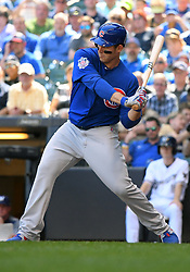 June 13, 2018 - Milwaukee, WI, U.S. - MILWAUKEE, WI - JUNE 13: Chicago Cubs First base Anthony Rizzo (44) starts his swing during a MLB game between the Milwaukee Brewers and Chicago Cubs on June 13, 2018 at Miller Park in Milwaukee, WI. The Brewers defeated the Cubs 1-0.(Photo by Nick Wosika/Icon Sportswire) (Credit Image: © Nick Wosika/Icon SMI via ZUMA Press)
