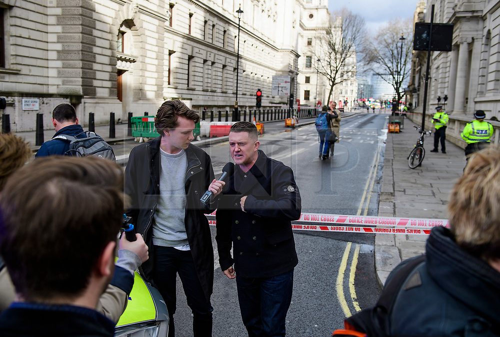 © Licensed to London News Pictures. 22/03/2017. London, UK. Former EDL leader TOMMY ROBBINSON at the scene of suspected terrorist attack near Houses of Parliament in Westminster, London. Photo credit: Ben Cawthra/LNP