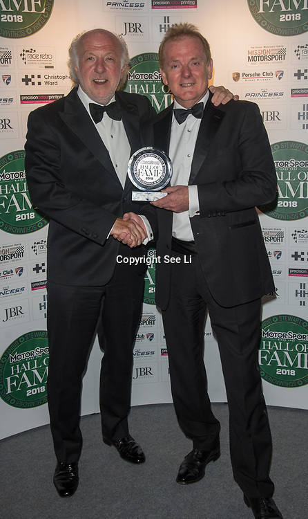 Presenter by David Richards (R) for Industry Champion award winner Jonathan Palmer at The Motor Sport Hall of Fame will return to the spectacular Royal Automobile Club at Woodcote Park, Surrey, London, UK. 4 June 2018.