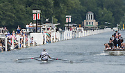 Henley on Thames. United Kingdom. Final,  Diamond Challenge Sculls, NZL M1X. Mahe DRYSDALE, has a visual  [Marker Boards]. That he has made no impression on BEL M1X Hannes OBRENO's,  slight led in the race for the line.  Sunday,  03/07/2016,   2016 Henley Royal Regatta, Henley Reach.   [Mandatory Credit Peter Spurrier/Intersport Images]