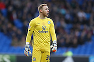 Jason Steele, the Blackburn Rovers goalkeeper looks on. Skybet football league championship match, Cardiff city v Blackburn Rovers at the Cardiff city stadium in Cardiff, South Wales on Saturday 2nd Jan 2016.<br /> pic by Andrew Orchard, Andrew Orchard sports photography.